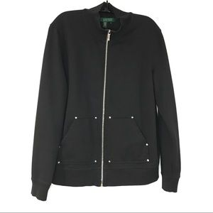 Lauren Ralph Lauren Black Front Zip Jacket